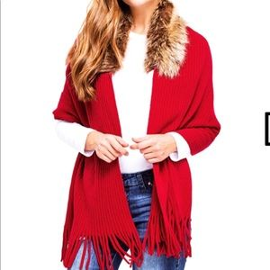 Jackets & Blazers - Red ribbed faux fur sweater shawl